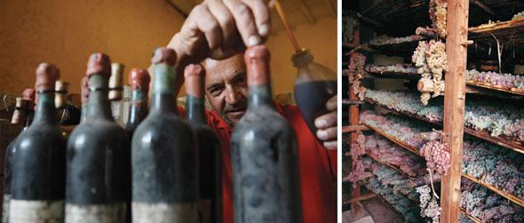 Mudanças de rolhas (esquerda) e preparo das uvas do vin santo (direita)