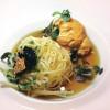 O espaguetinho de salsifi com mousseline de uni, no Twist, do Mandarin de Las Vegas, com seu décor, abaixo.